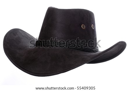 Black leather hat isolated on white. Traditional hat for all american cowboys. - stock photo