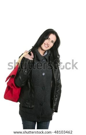 Black leather jacket shopper woman isolated on white - stock photo