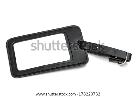 Black leather Luggage tag isolated on white background  - stock photo