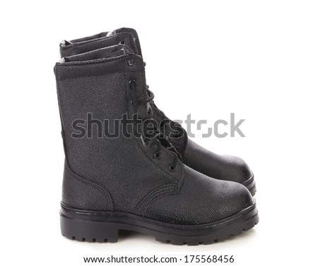 Black leather man's boots. Isolated on a white background.