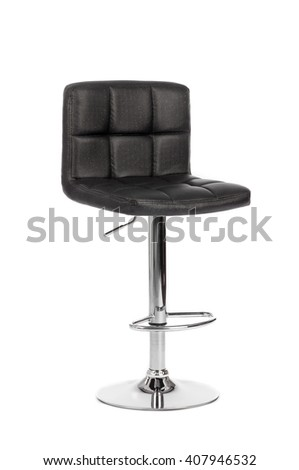 Black leather modern bar Chair isolated on white background - stock photo