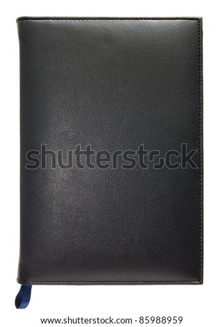 Black leather note book isolated on white background - stock photo