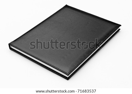 black leather notebook isolated - stock photo