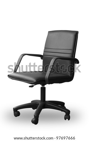 Black leather office chair and shadow on white floor with paths
