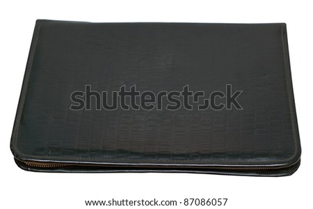 Black leather organizer isolated on white background - stock photo