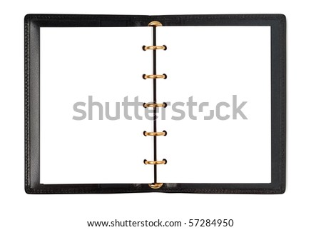 Black leather organizer notepad notebook scrapbook isolated with clipping path on white - stock photo