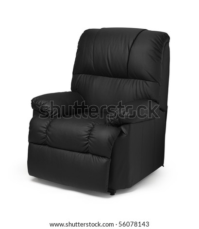 Black leather recliner armchair with massage and foot rest, isolated on white. - stock photo