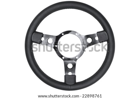 Black leather retro steering wheel isolated on a white background. - stock photo