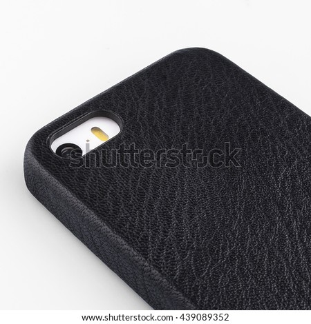 black leather smart phone case