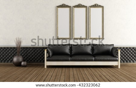 Black Leather Sofa In A Vintage Living Room   3d Rendering Part 87