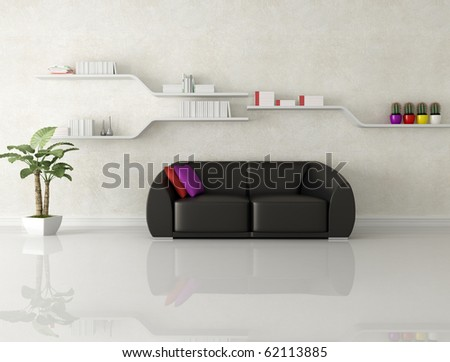 black leather sofa in a white modern living room - rendering - stock photo