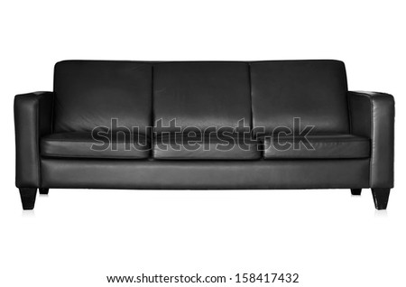 Black leather sofa isolated on white background with clipping paths. - stock photo