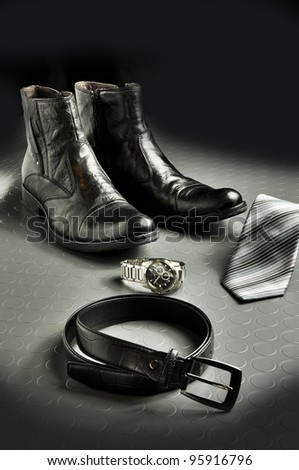 Black leather style - stock photo