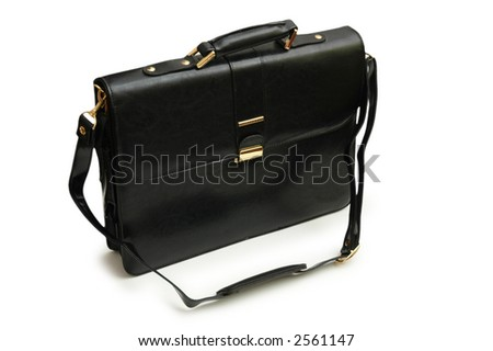 Black leather suitcase isolated on the white