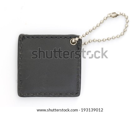 Black Leather Tag on White background