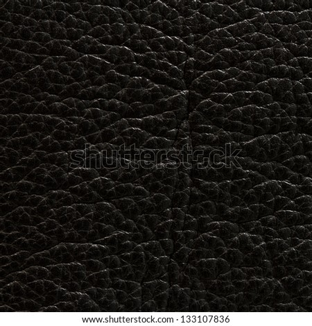 Black leather texture or background - stock photo