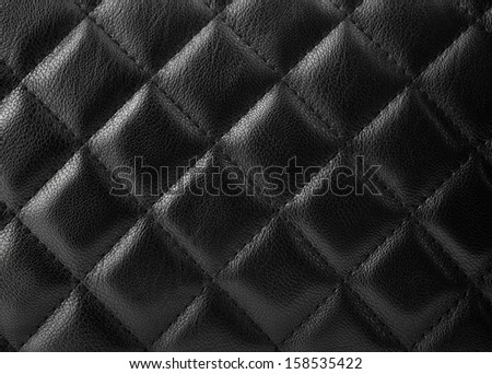 Black leather upholstery texture with great detail for background - stock photo