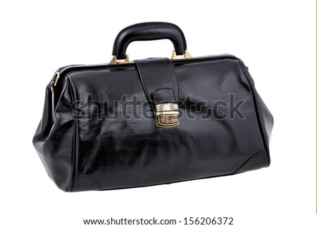 Black leather valise isolated on white background