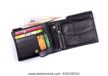 Black leather wallet isolated on the white background - stock photo