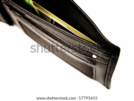 Black leather wallet isolated on white - stock photo