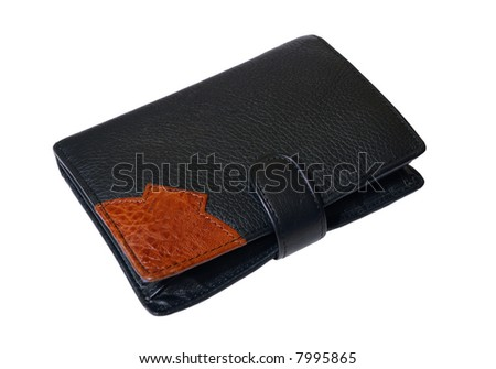 Black leather wallet, single on white background