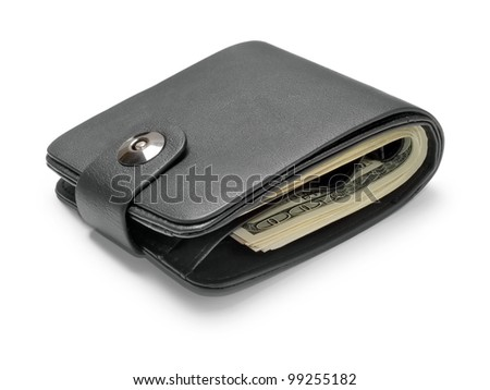 Black leather wallet with dollars isolated on white background. - stock photo