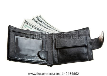 Black leather wallet with dollars white isolated