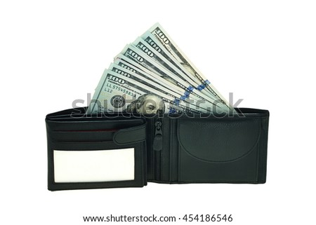 black leather wallet with money isolated on white - stock photo