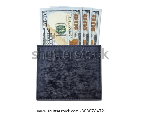 Black leather wallet with three new $100 bills - stock photo