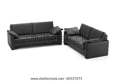 Black leathered furniture isolated on white background - stock photo