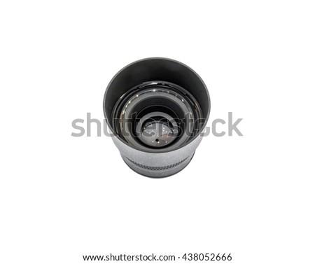 Black lens for DSLR camera isolated on white background. - stock photo