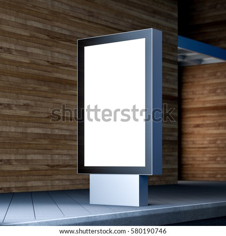 Black lightbox mockup near office building or shopping mall in evening, advertising stand on a street, 3d rendering