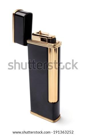 Black lighter on white background - stock photo