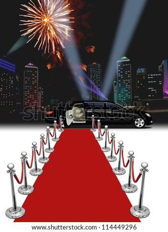 Black Limo and red carpet with buildings and fireworks - stock photo