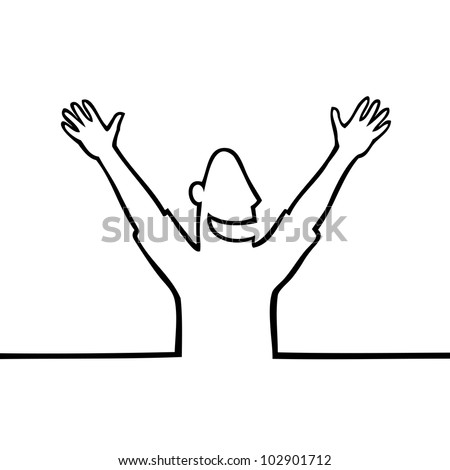 Black line art illustration of a happy person with open arms. - stock photo