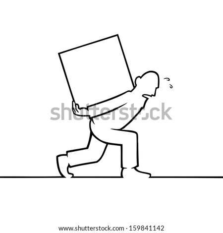 Black line art illustration of a man carrying a heavy box. - stock photo