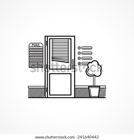 Black line icon for office door. Doors with jalousie, mailbox and decorative tree for office interior. Black flat line design icon on white background. - stock photo