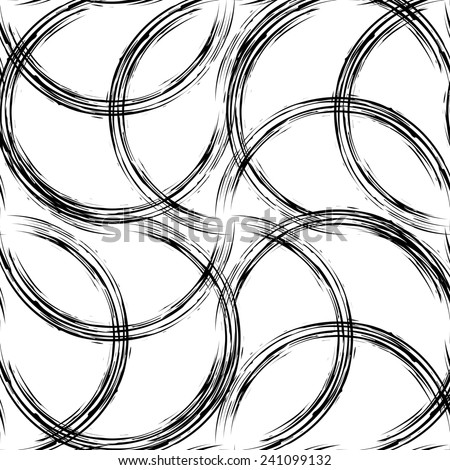 Black line seamless illustration. Grunge swirl background texture  - stock photo