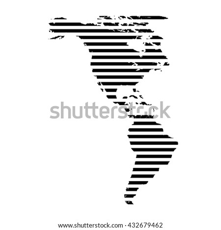 Black linear symbol of north and south America map on white