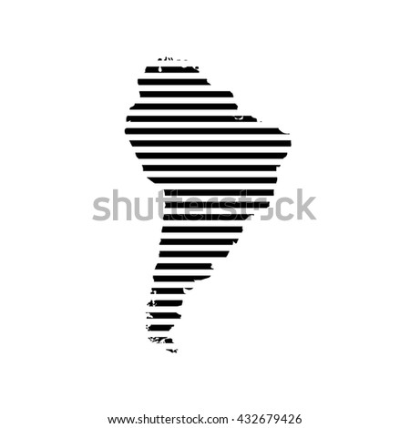 Black linear symbol of south America map on white