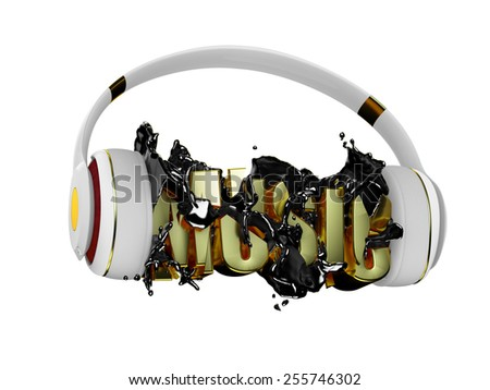 black liquid from the headphones breaks inscription music. stylish white with gold headphones, and the word music. for each color and the object retained its mask. edit in the fun - stock photo