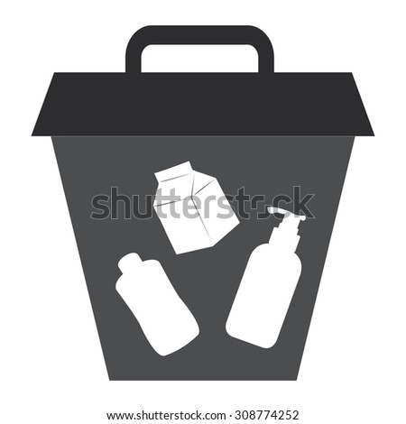 Black Litter Bin Infographics Flat Icon, Sign Isolated on White Background - stock photo