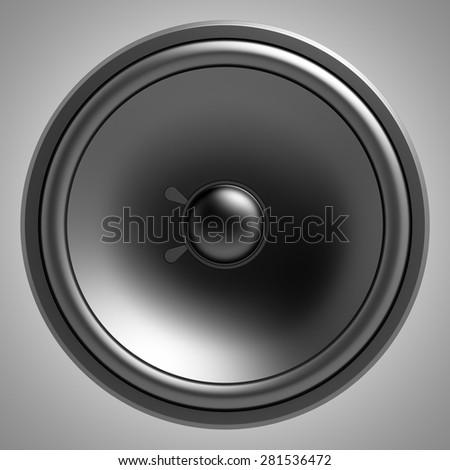 black loudspeaker isolated on gray background - stock photo
