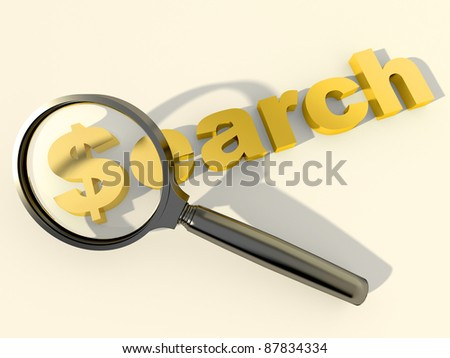 "Black loupe over the word ""Search"" with dollar symbol instead of first letter"