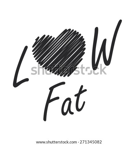 Black Low Fat Label, Banner, Sign or Icon Isolated on White Background - stock photo