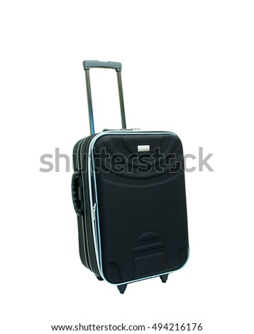 black luggage isolated on white background with clipping path.
