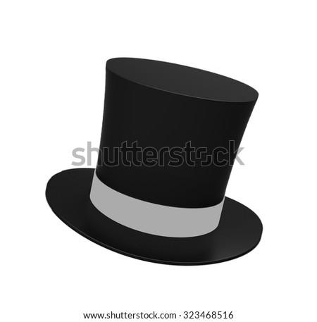 Black magic hat isolated on a white background - stock photo