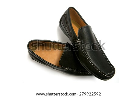 Black male shoes isolated on white - stock photo