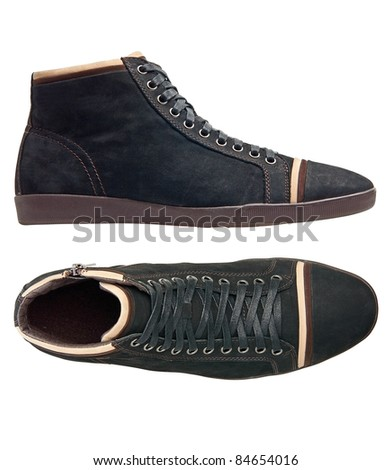 Black male shoes over white - stock photo