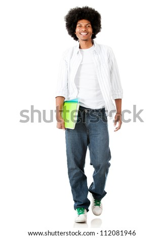 Black male student walking - isolated over a white background